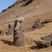 Moai on the quarry hillside